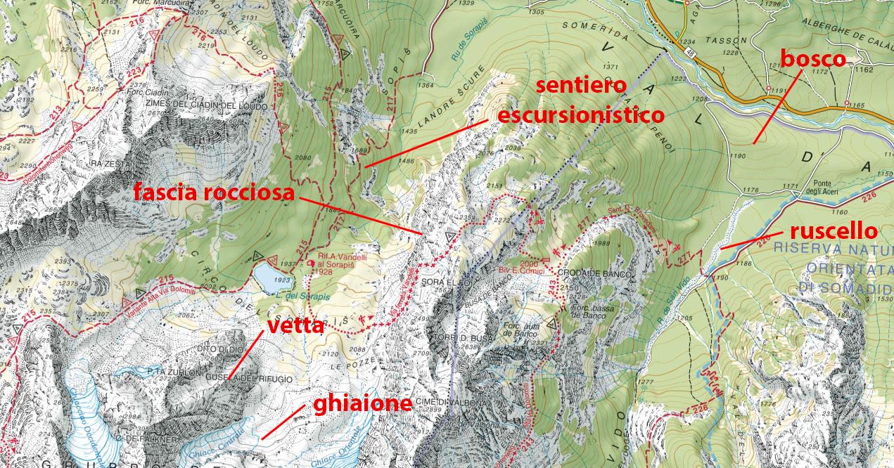 cartina topografica sentiero
