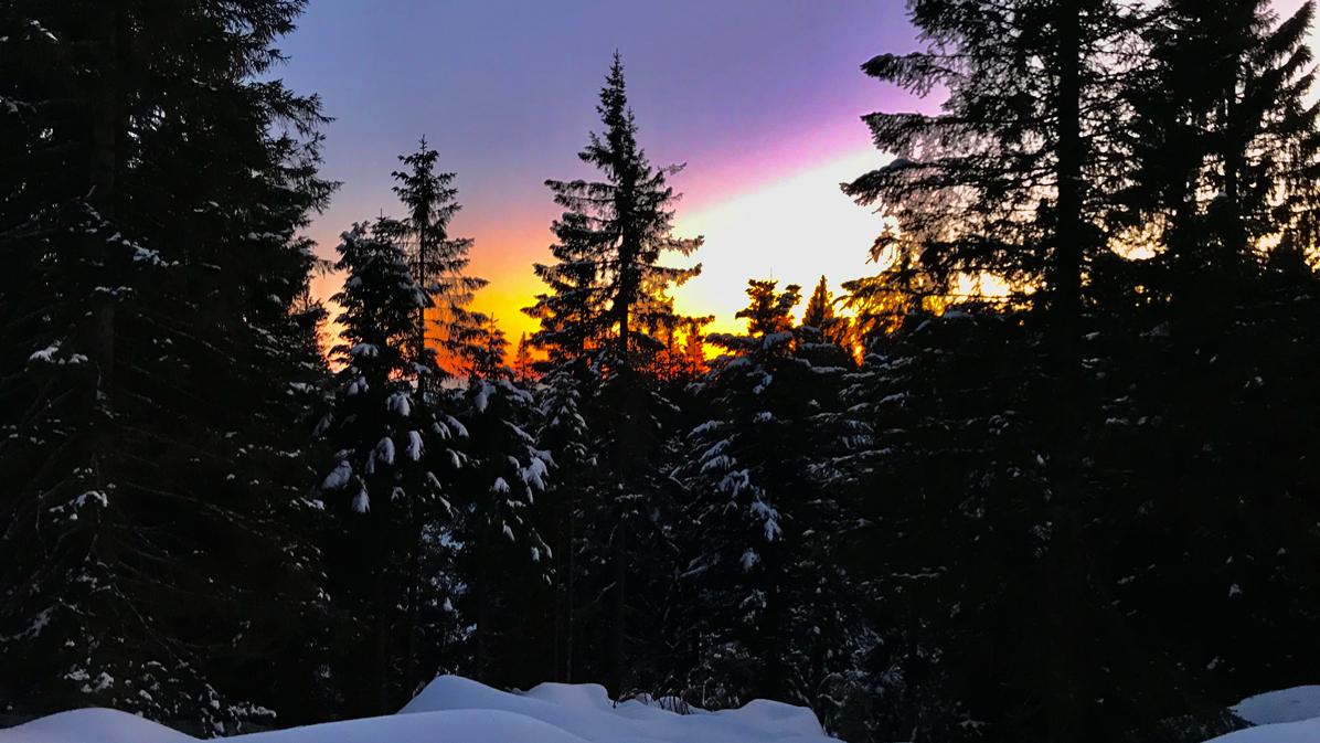 ciaspolata al tramonto