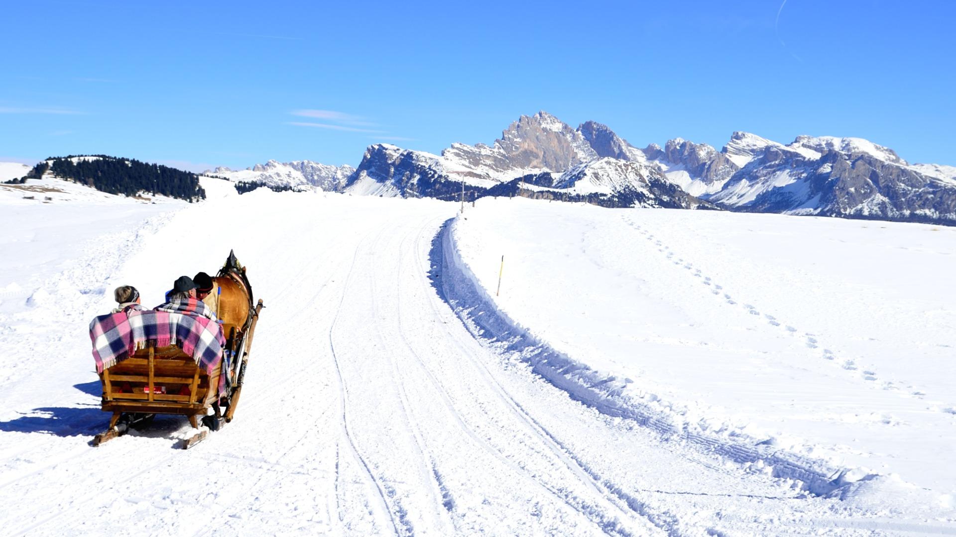 slitta sull'Alpe di Siusi