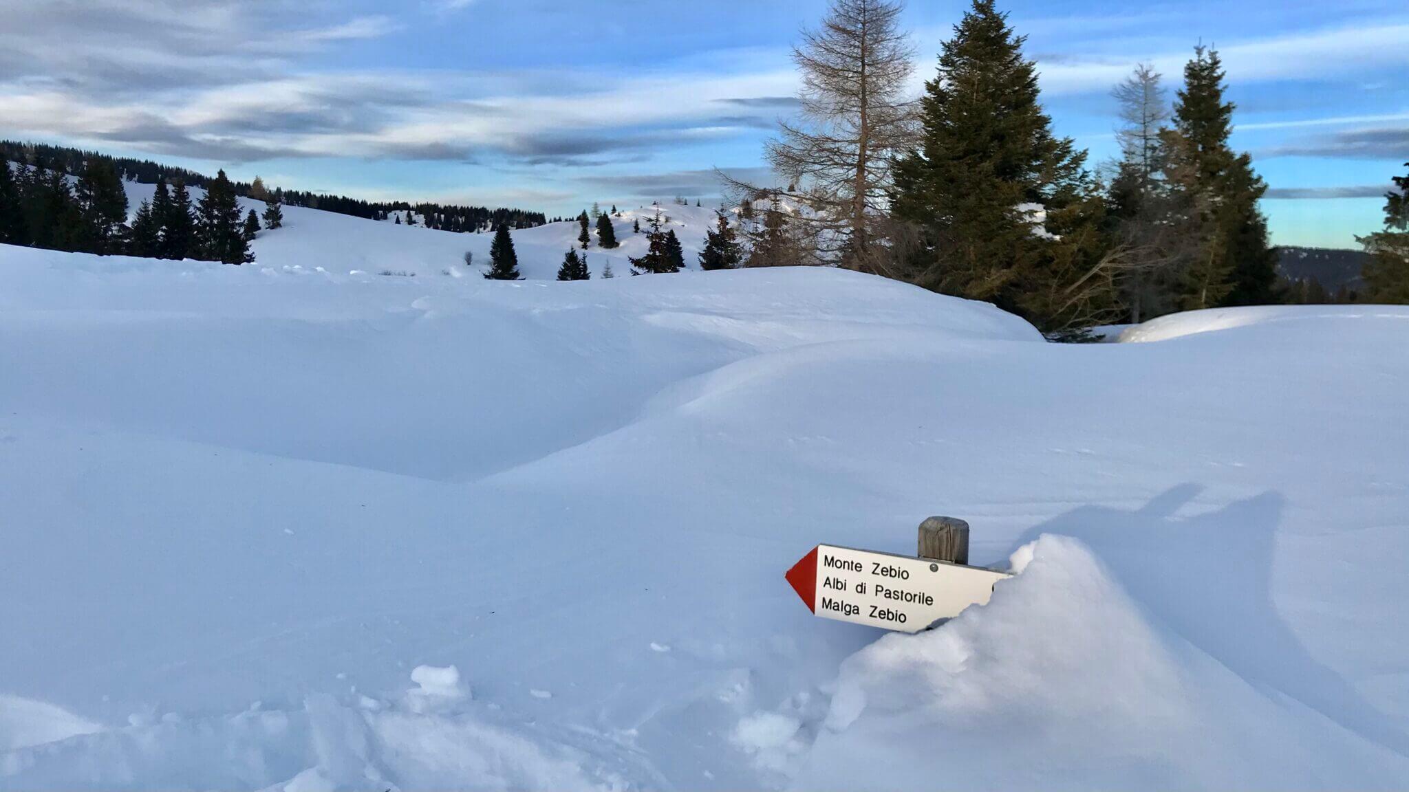 sentiero innevato Monte Zebio
